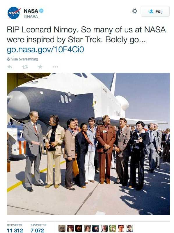 Även rymdorganisationen NASA hyllar den bortgångne skådespelaren.