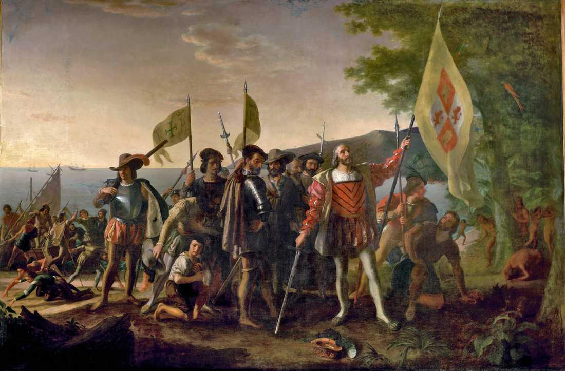 """Början på herraväldet """"Christofer Columbus landstigning"""", målning av John Vanderlyn. Först när kolonialiseringen började på 1400-talet ändrades maktbalansen från öst till väst."""