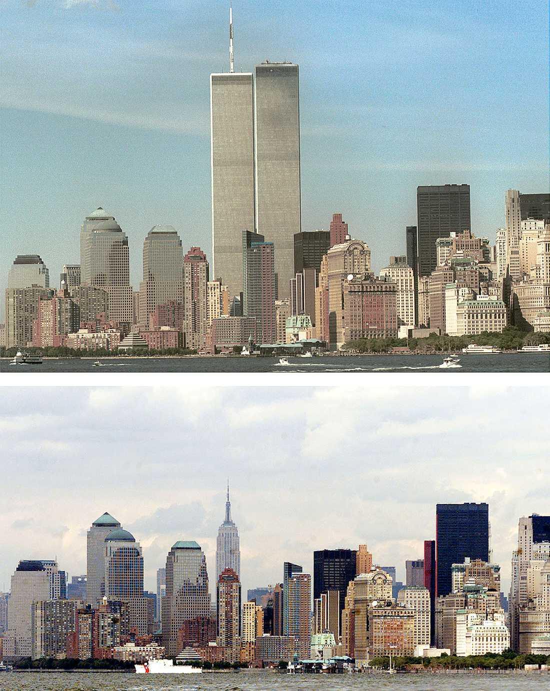 FÖRE OCH EFTER Det är inte bara New Yorks stadssiluett som har förändrats: tio år efter attackerna mot World Trade Center lever vi med två motstridiga bilder av USA.