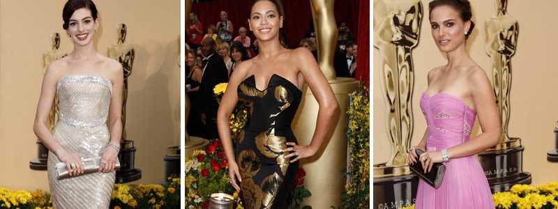 Anne Hathaway, Beyoncé Knowles och Natalie Portman var några av alla stjärnor som minglade på röda mattan under årets Oscar-gala.