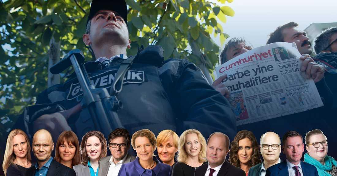 I dag har 170 medier stängts ned i Turkiet och 144 journalister sitter fängslade. Utvecklingen efter kuppförsöket i juli måste nu stoppas. Sveriges regeringen måste ställa hårdare krav på president Erdogan, skriver styrelsen för Utgivarna.