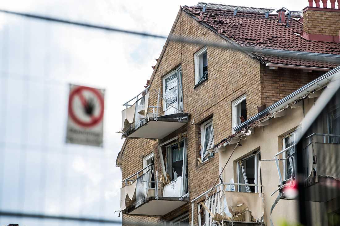Huset efter explosionen i Linköping.