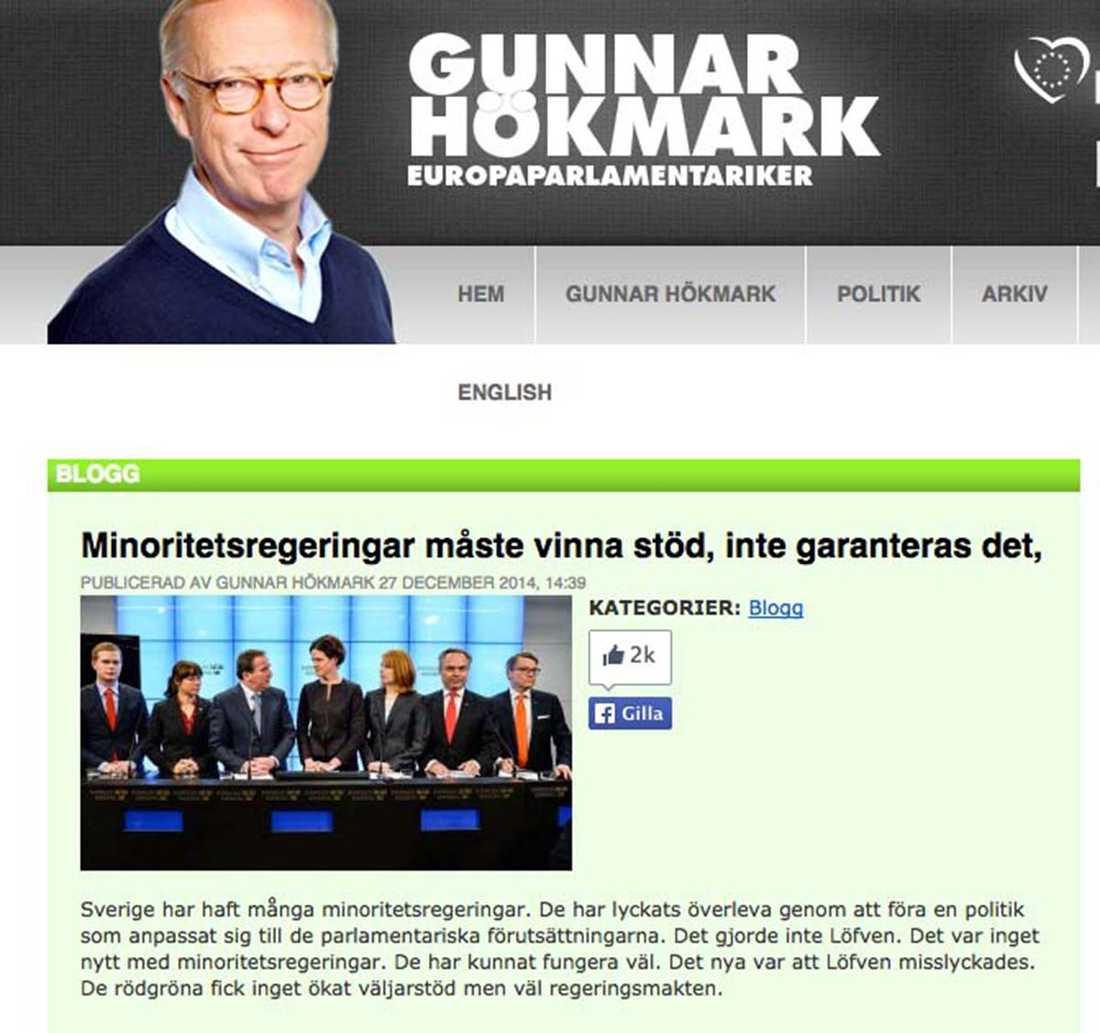 """Uppgörelsen mellan regeringen och Alliansen leder till en """"dekretpolitik"""", skriver Hökmark i blogginlägget."""