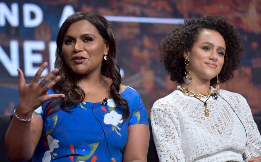 Mincy Kalling och Nathalie Emmanuel under en pressträff för serien.
