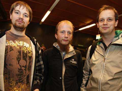 Fredrik Neij, Gottfrid Svartholm och Peter Sunde.