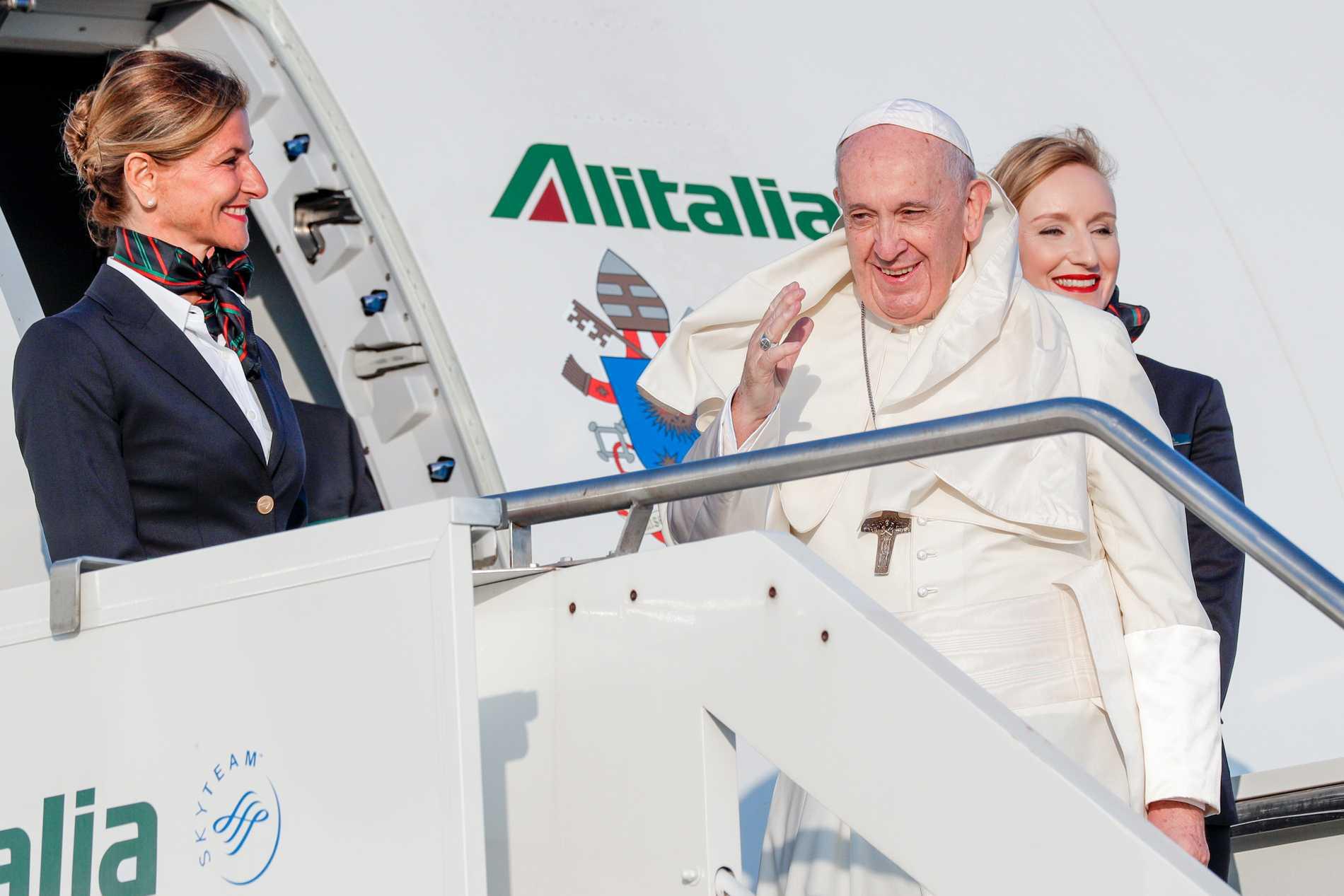 Påve Franciskus inleder sin veckolånga resa i Moçambique. Här tar han flyget från Rom. Arkivbild.