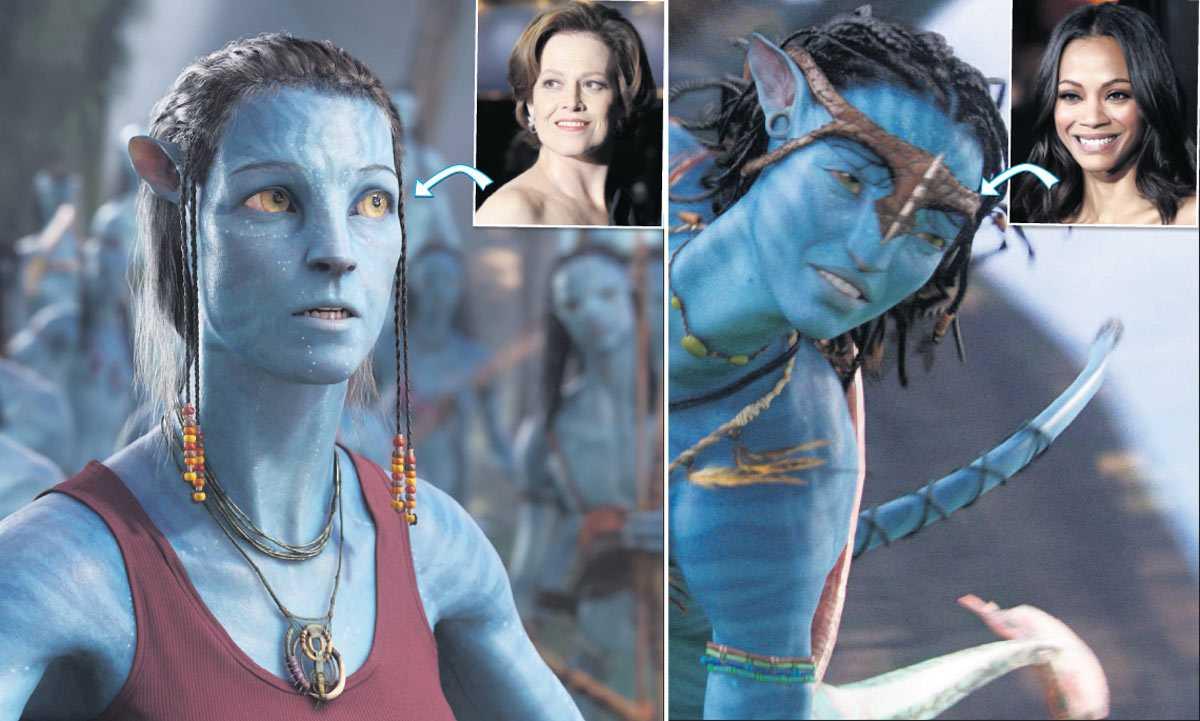 """Sigourney Weaver är både människa och avatar i filmen medan Zoe Saldana bara finns som rymdvarelse på planeten Pandora: """"Jag funderade på att jag inte skulle synas alls, skådespelare vill ju visa sina ansikten, men det är den bästa roll som korsat mina vägar"""", säger Saldana."""