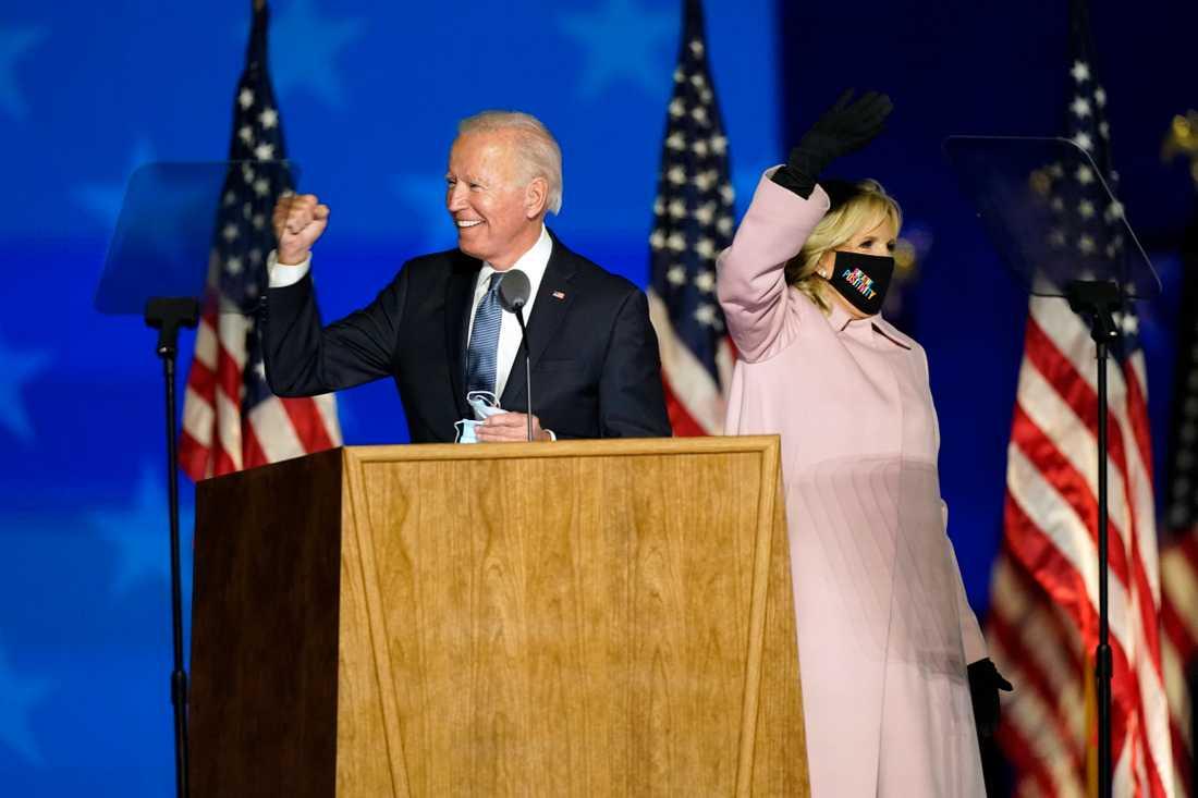 Joe Biden höll tall för sina anhängare i Wilmington, Delaware, vid halv sju svensk tid.