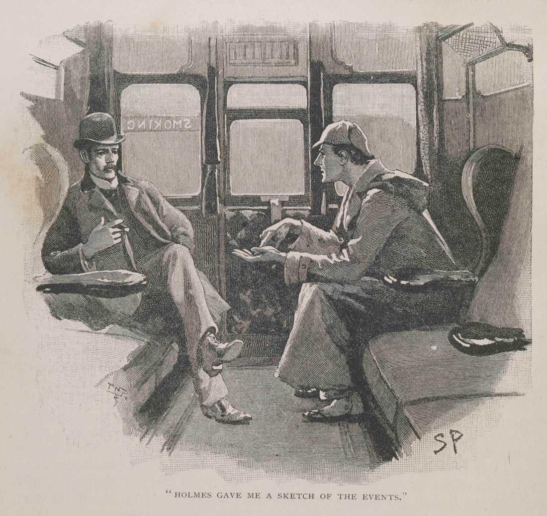 En skiss som visar en del ur Holmes-äventyret The Adventure of the Silver Blaze. Bilden går att se på Museum of London och publicerades 1892 i Strand Magazine.