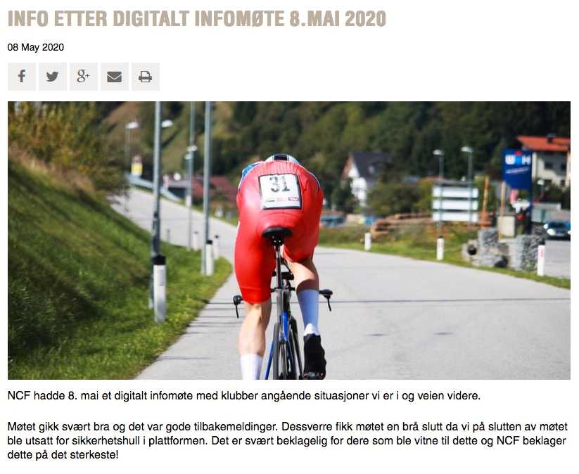 Skärmdump från Norges cykelförbunds hemsida.
