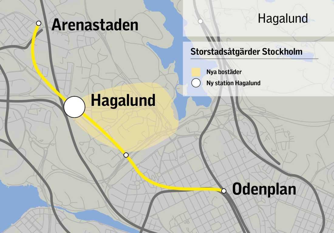 Ny station på planerade gula linjen.