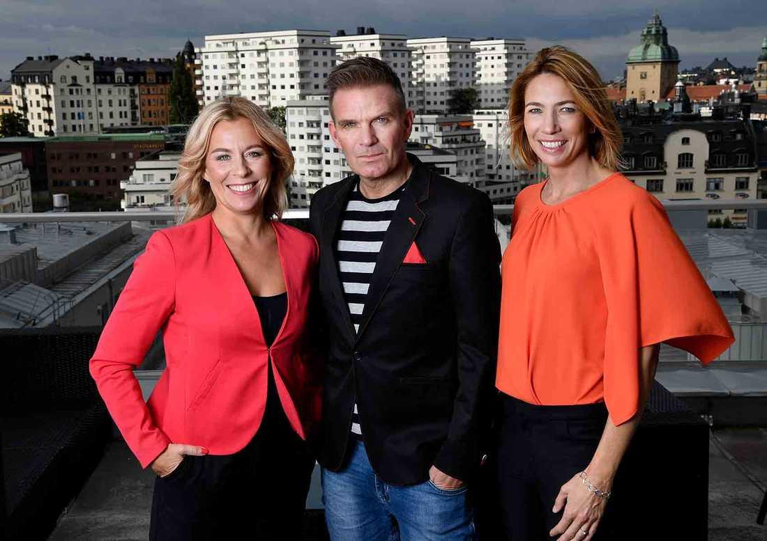 Programledarna Maria Bjaring, Claes Åkesson och Karin Magnusson.