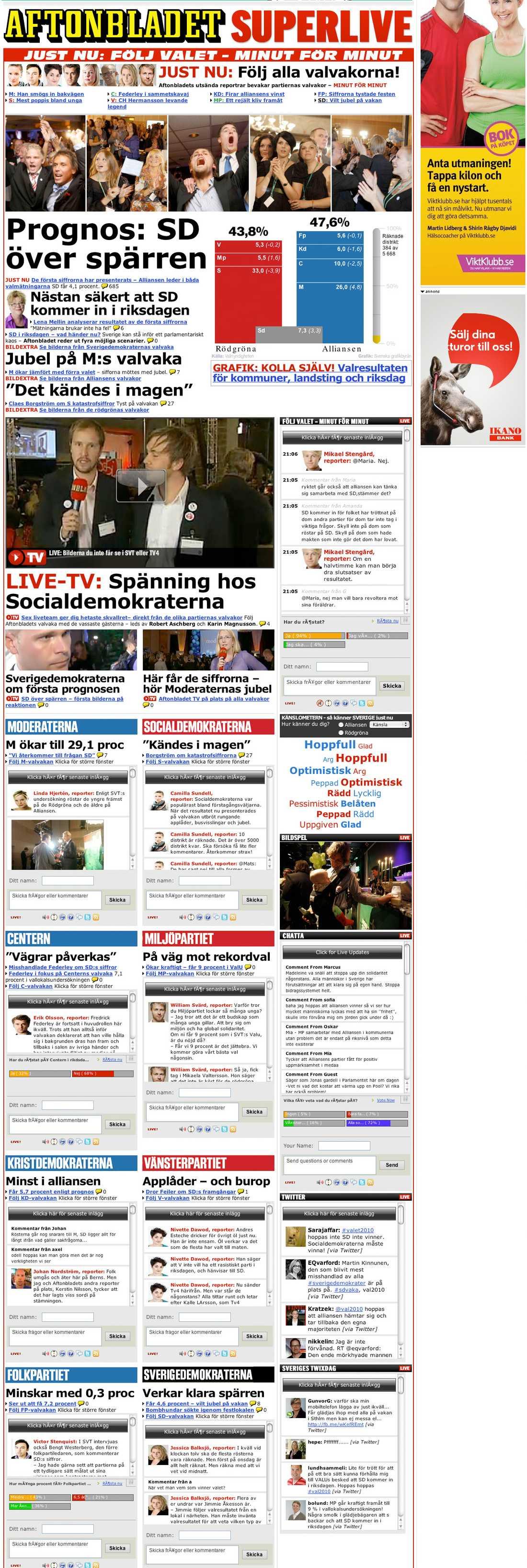 Så var Aftonbladets valbevakning på söndagskväll: Klicka för större version.