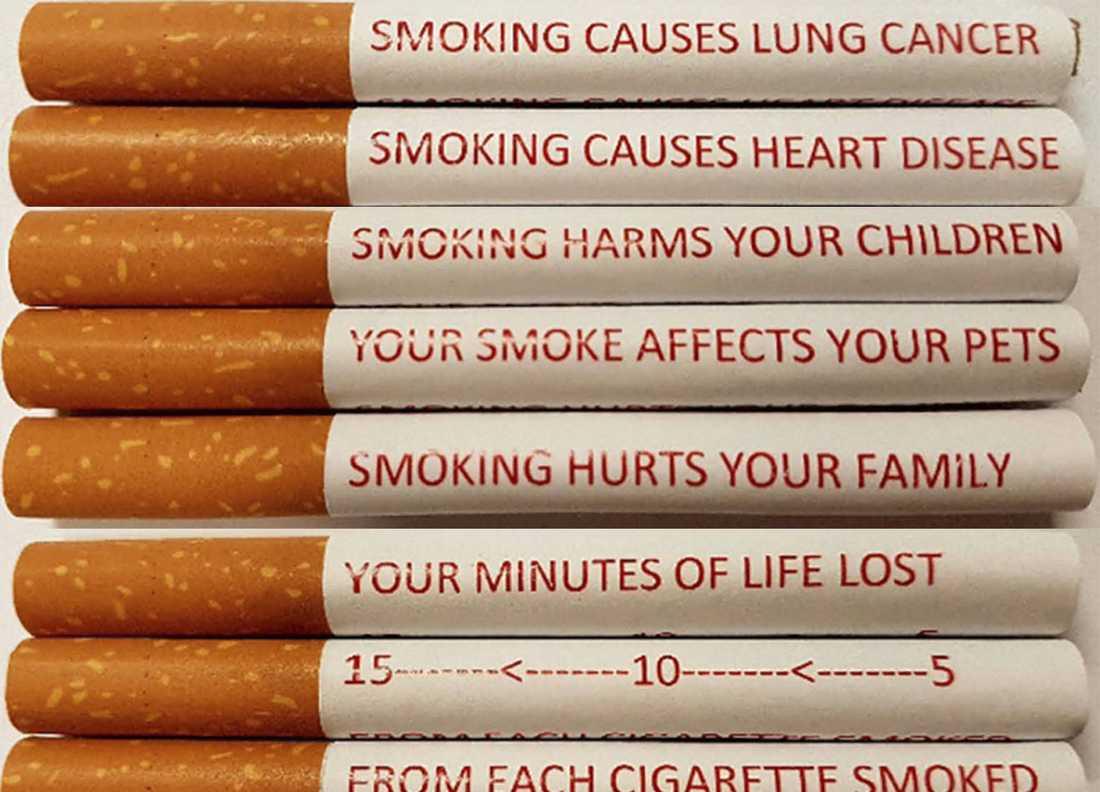 Varningstext på cigaretter har testats i Australien.