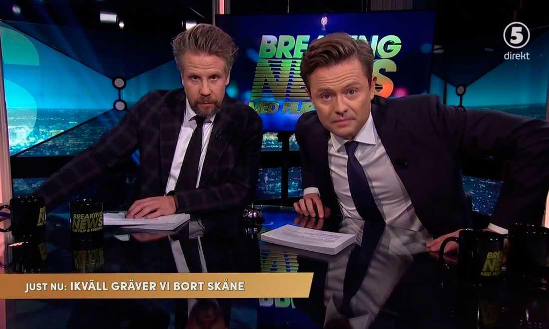 Filip och Fredrik i 'Breaking News' i Kanal 5.
