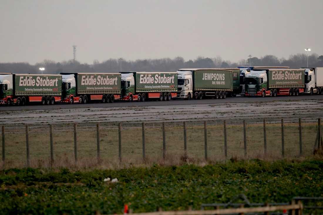 Lastbilar deltog nyligen i en låtsastrafikstockning för att öva inför möjlig överbelastning i hamnen i Dover i händelse av en avtalslös brexit.