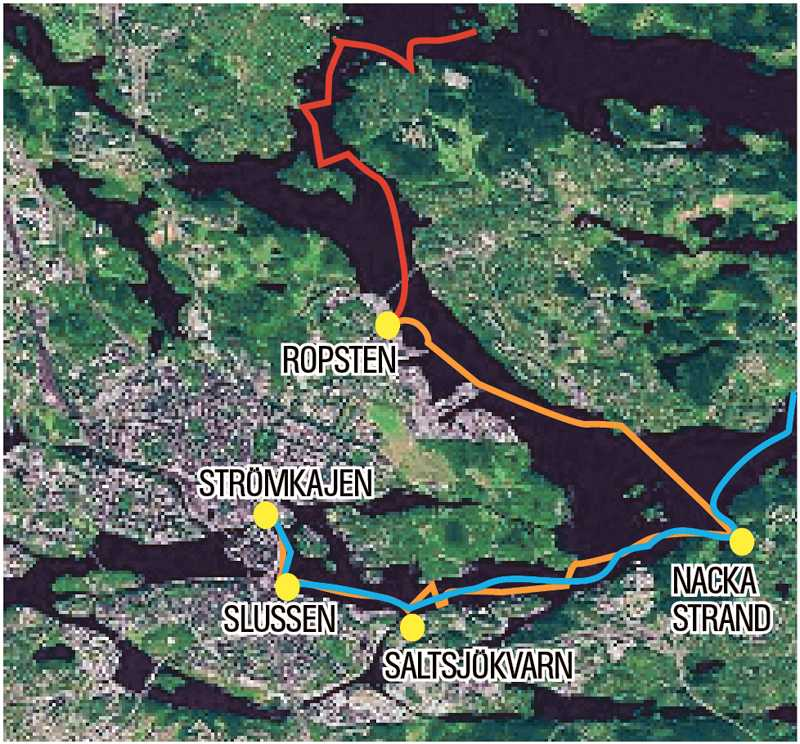 Linje 1 (blå), linje 2 (gul) och linje 5 (röd) är de tre linjer som enligt förslaget ska dela viktiga knutunkter. Karta: hitta.se