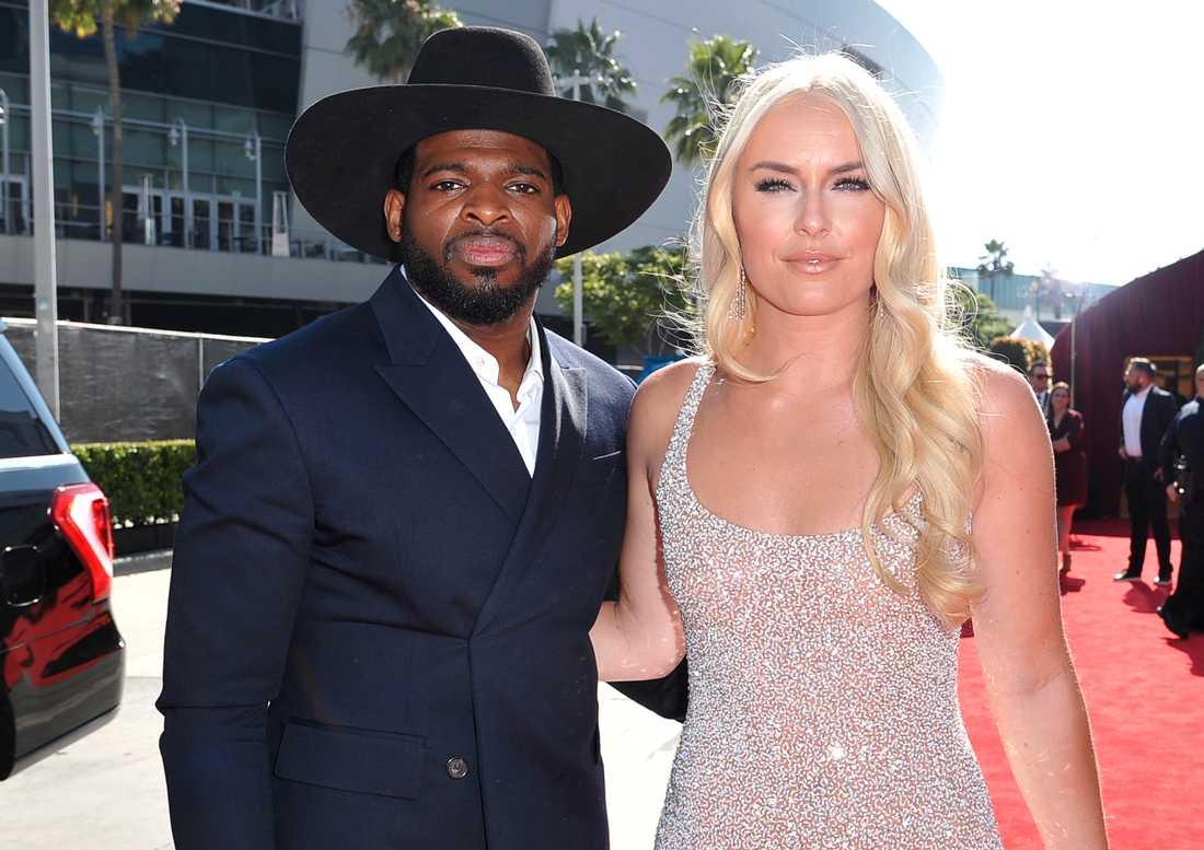 P.K Subban och Lindsey Vonn inför en galatillställning i Los Angeles 2019.