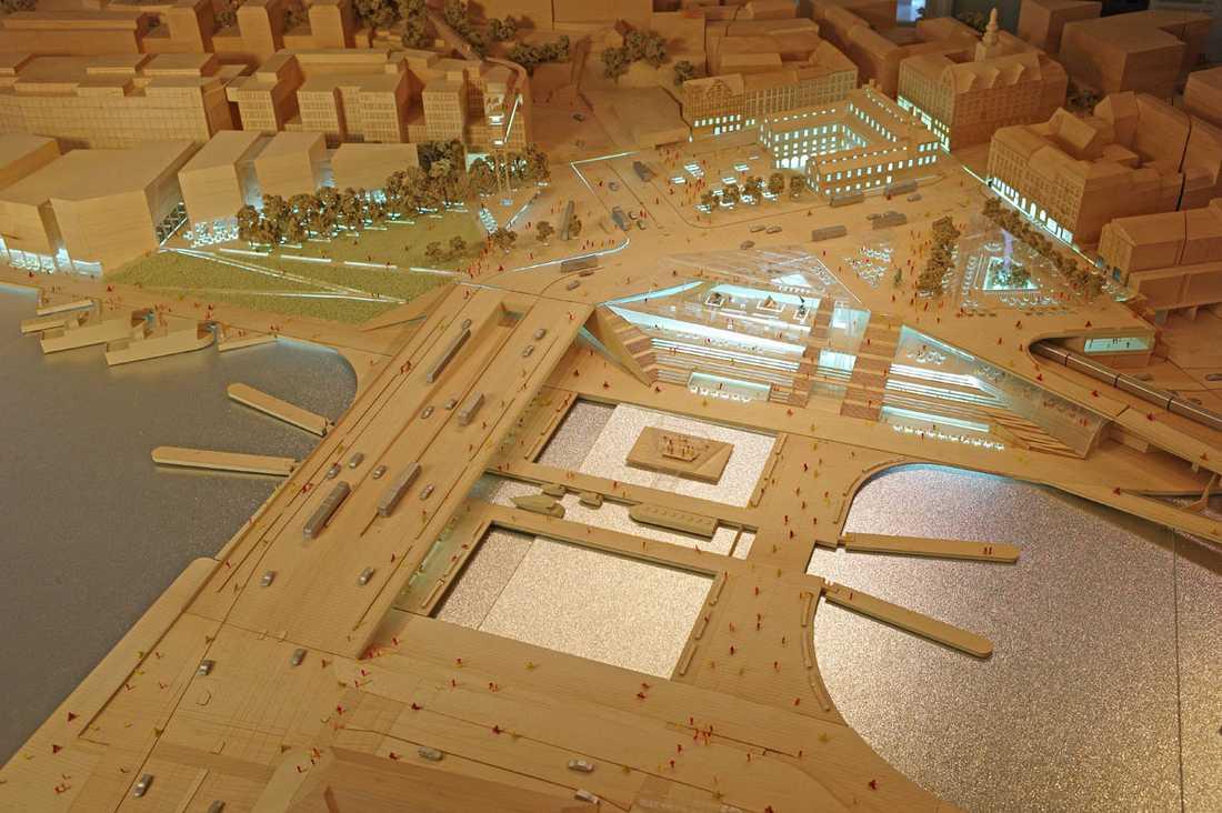 Modell över framtidens Slussen, sett från Gamla stan.