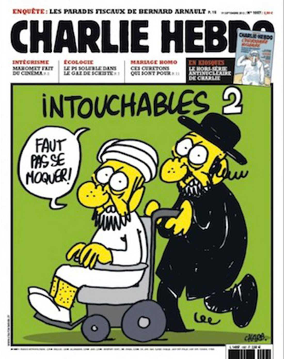 """NÅGRA AV CHARLIE HEBDOS FÖRSTASIDOR Apropå den franska filmen """"En oväntad vänskap"""" som på franska heter """"Intouchables"""". En ortodox jude skjutsar en muslim i rollstol och de säger att """"man inte får retas""""."""