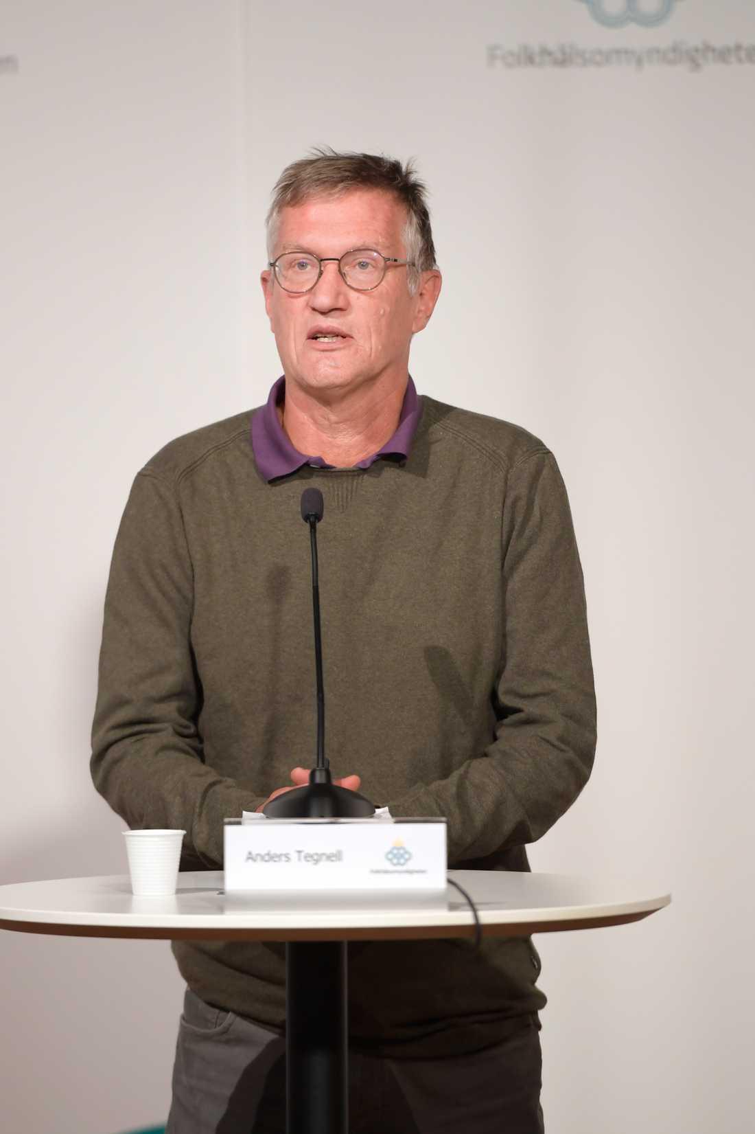 Anders Tegnell, statsepidemiolog, Folkhälsomyndigheten, under torsdagens myndighetsgemensamma pressträff om coronapandemin.