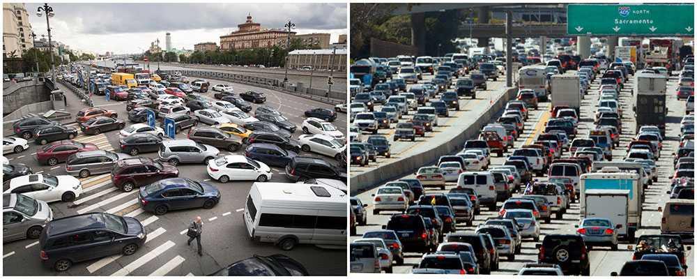 Trafikkaos i Moskva till vänster och bilköer i rusningstrafik i Los Angeles till höger.