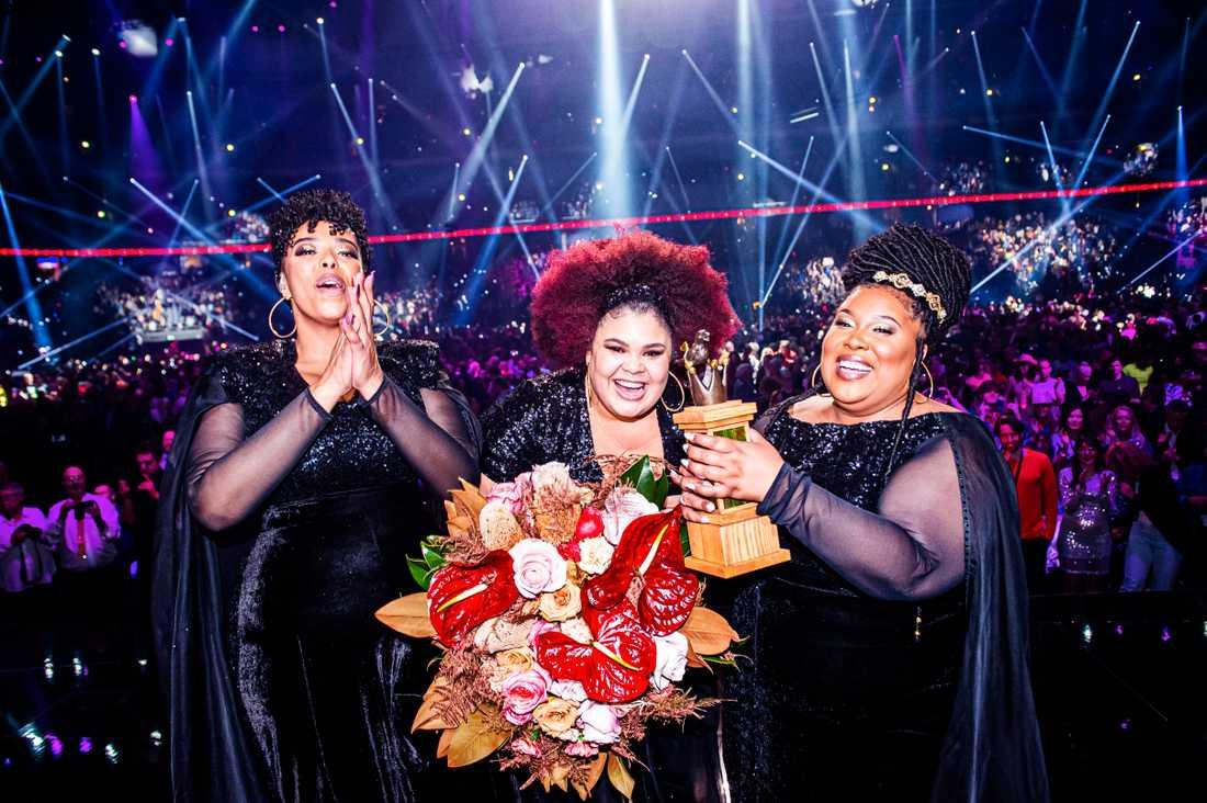 Dina Yonas, Manna Loulou Lamotte och Ashley Haynes i The Mamas vann Melodifestivalen 2020.