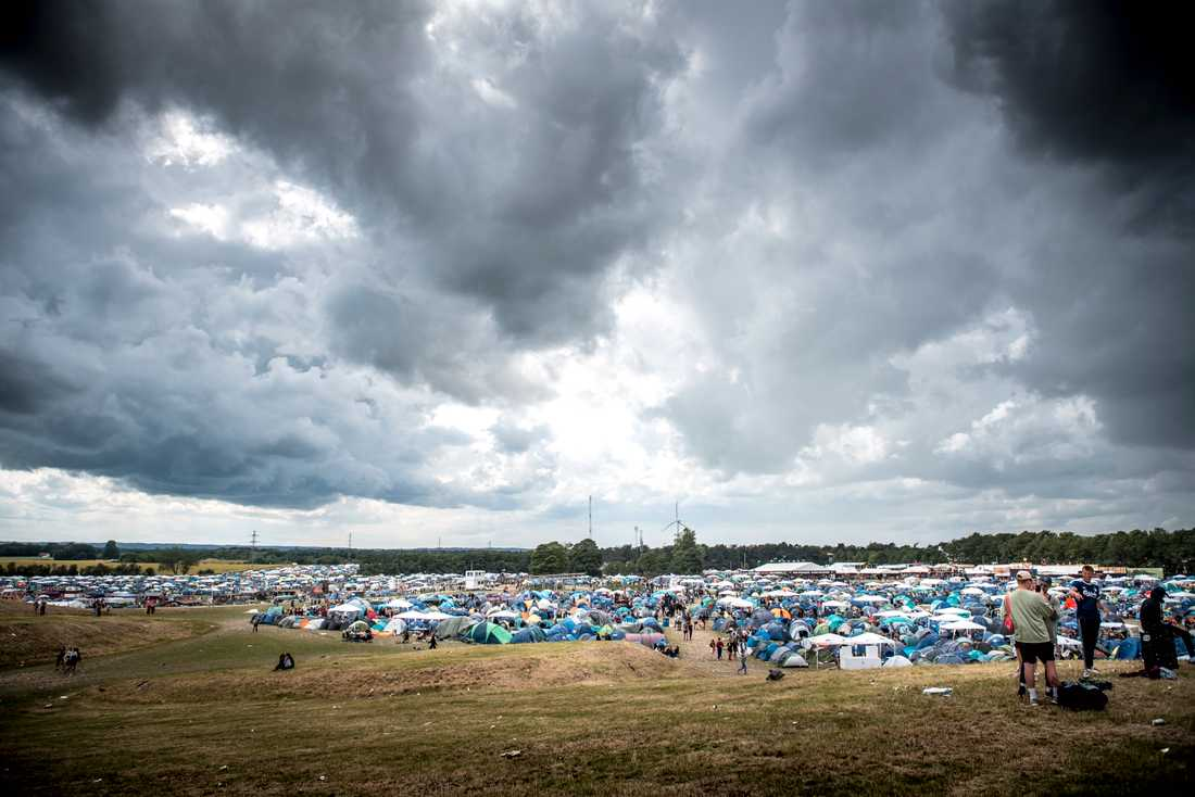 Campingområdet vid Roskildefestivalen.