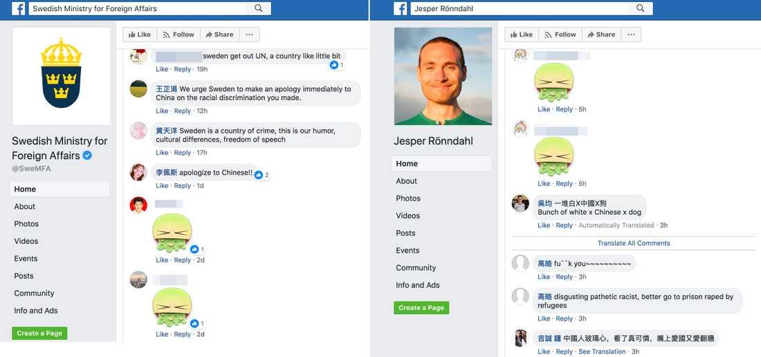 Arga kommentarer på UD:s och Jesper Rönndahls Facebook-sida