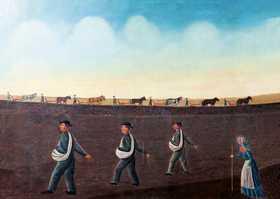 Erik Janssons anhängare odlade ny mark i Illinois och avbildades av konstnären Olof Krans.