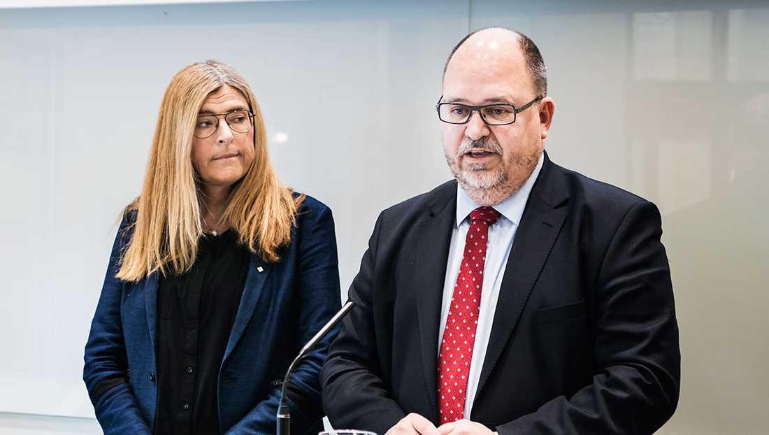 Therese Guovelin, LO:s första vice ordförande och LO:s ordförande Karl-Petter Thorwaldsson.