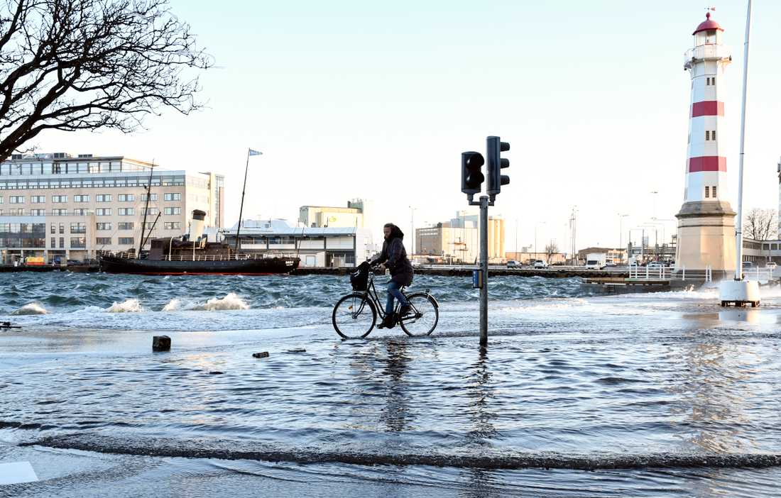MALMÖ 2016-12-27 En cyklist trampar sig genom Öresunds vågor som svämmar över vägen mellan Universitetsbron och Klaffbron i kölvattnet efter stormen Urd.