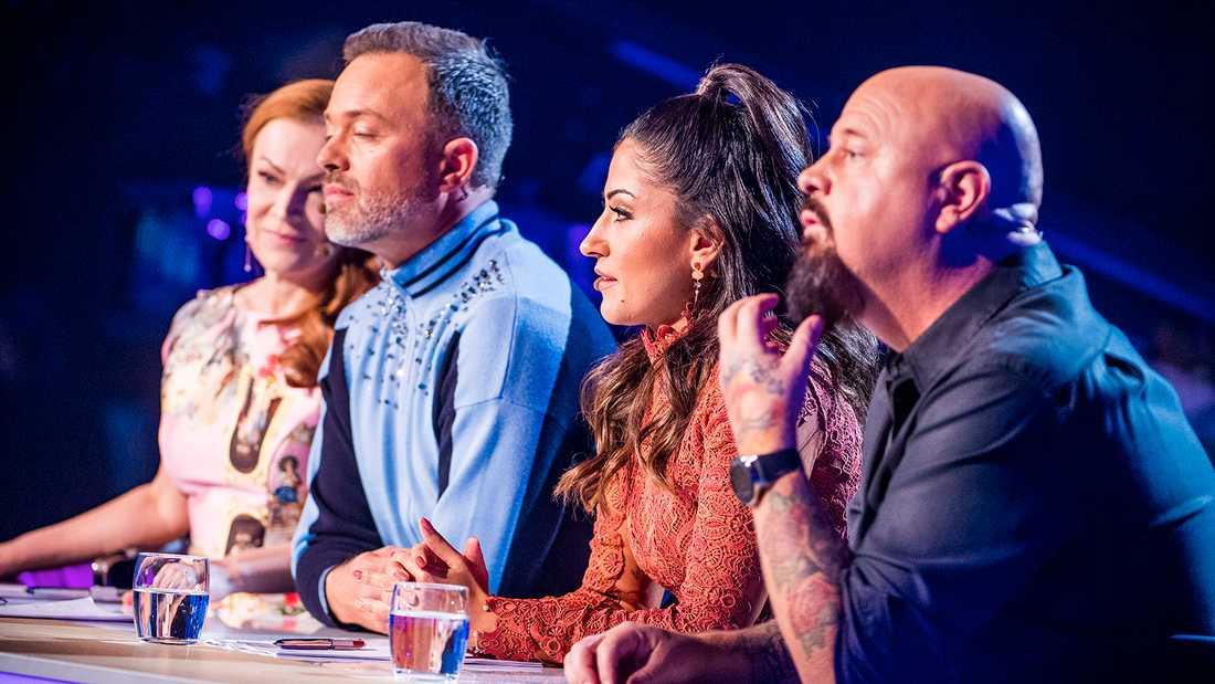 """""""Idol""""-juryn, från vänster Kishti Tomira, Alexander Kronlund, Nikki Amini och Anders Bagge."""