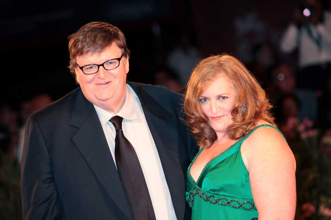 Michael Moore med exfrun Kathleen Glynn.