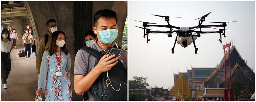 Invånare och turister uppmanas bära munskydd eller ansiktsmask. Man använder drönare för att bekämpa farliga artiklar i luften.