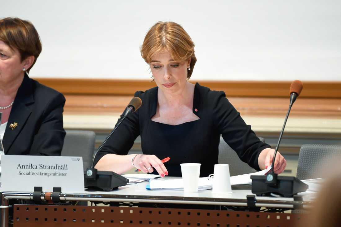 Socialförsäkringsminister Annika Strandhäll frågas ut i KU. Arkivbild.