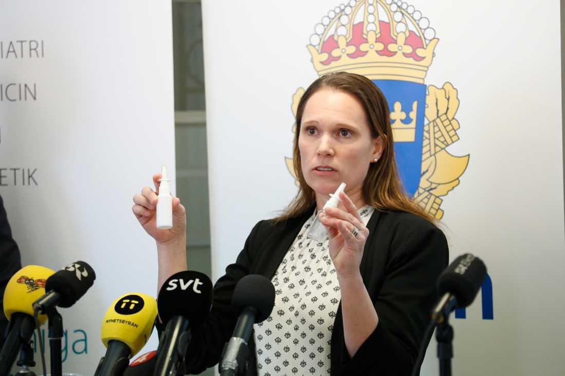 Åsa Torlöf, Polisens utredare, under pressträffen om åtalet mot två personer som sålt fentalnyl och orsakat flera personers död.
