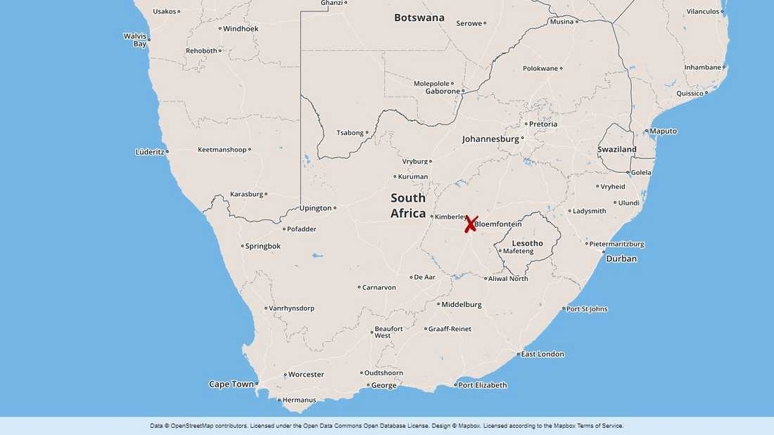 Bloemfontein, i Fristatsprovinsen i Sydafrika.