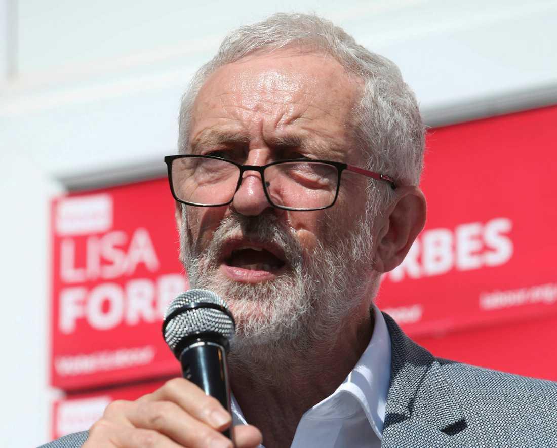 Storbritanniens oppositionsledare Jeremy Corbyn som leder Labour. Arkivbild.