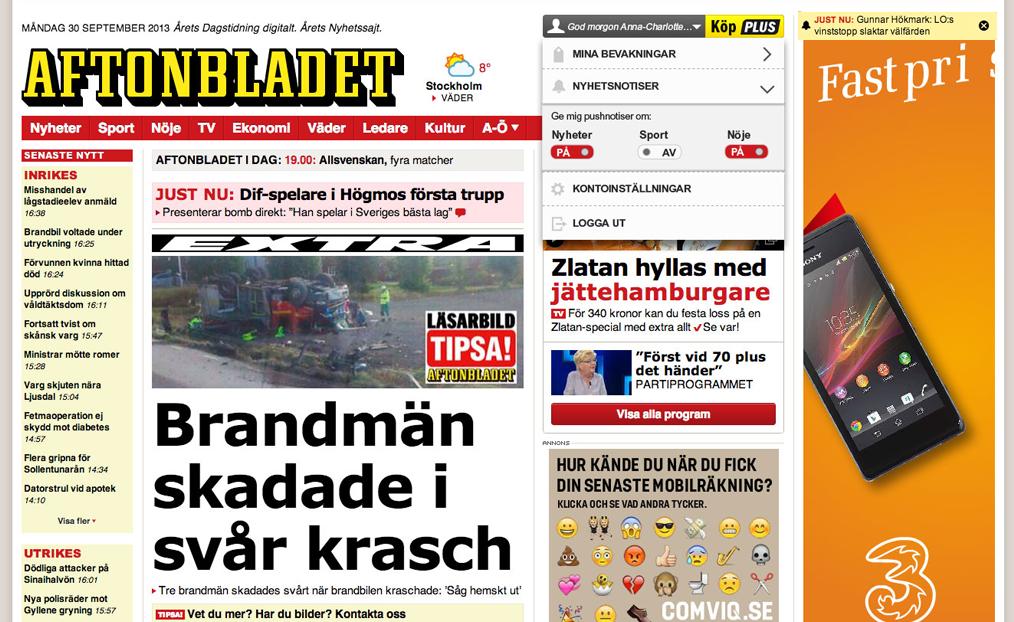 Klicka på nyhetsnotiser för att välja de ämnen du vill få notiser om. De gula notiserna visas sedan högst upp i högra hörnet. Klickar du kommer du direkt till artikeln.