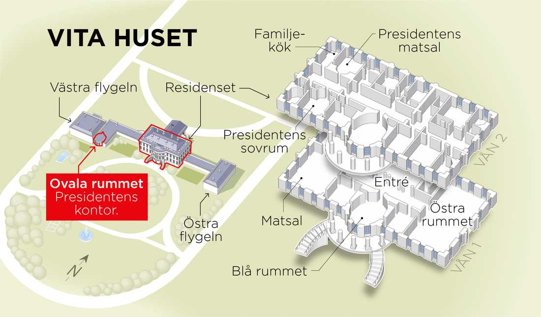 Grafik som visar presidentens residens.