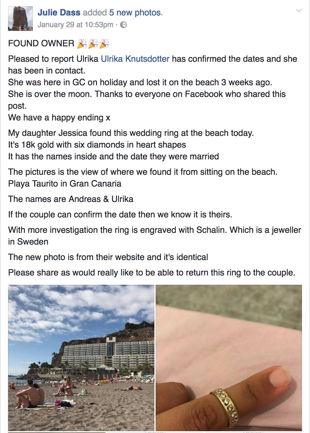 Julie Dass uppdaterade Facebookinlägget efter att hon pratat med Ulrika Knutsdotter.
