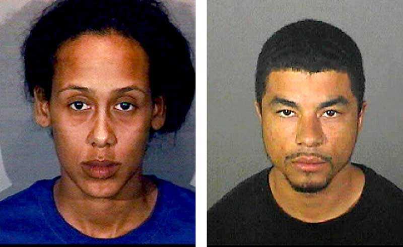 MISSTÄNKTA. Rianne Celine Theriault-Odom, 27, och Nathaniel Marquis Petrillo, 22, misstänks ha hällt ut brännbar vätska och tänt på en strippa i Los Angeles.