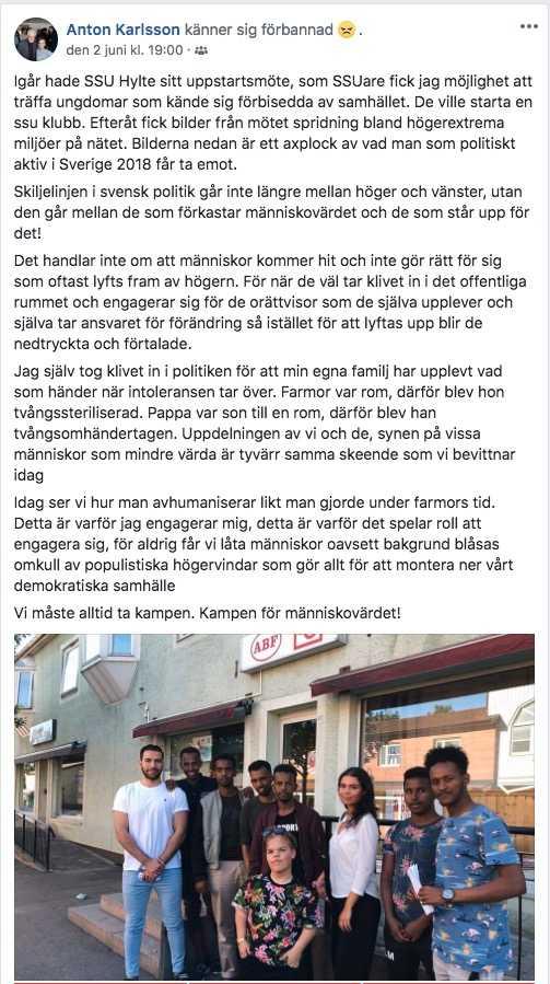 Anton Karlsson har skrivit ett inlägg på Facebook om hatet SSU Halland mött.
