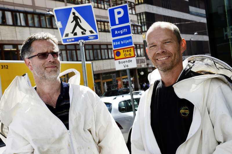 Johan Jarbrant och bioodlaren Owe Björkman hjälpte till att ge bina ett nytt hem i Södertörn söder om Stockholm.