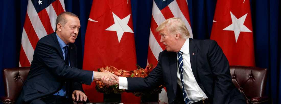Trump Och Erdogan vid ett FN-toppmöte i New York 2017.
