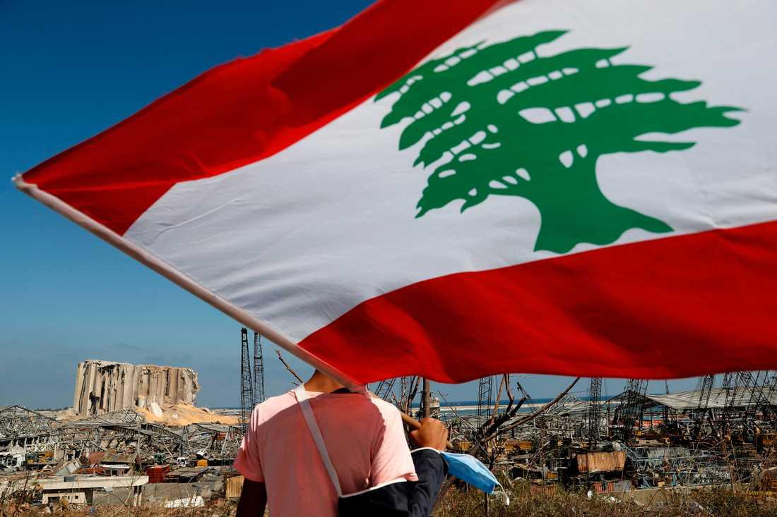 En man med den libanesiska flaggan tittar ut över förödelsen i hamnen efter tisdagens explosion i Beirut.