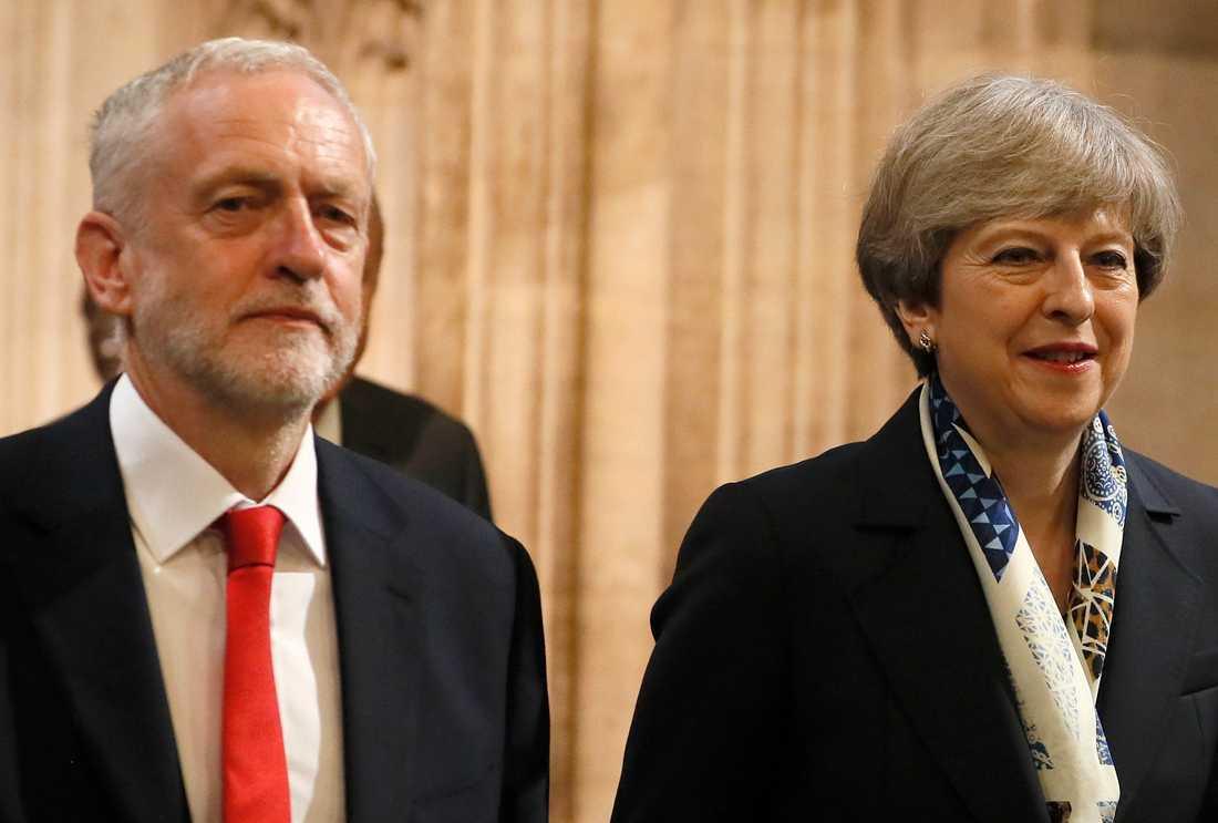 Jeremy Corbyn och Theresa May. Arkivbild.