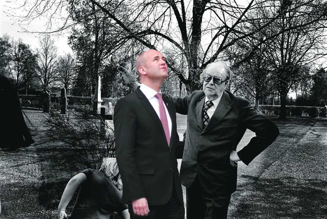 """Alltid statsminister Fredrik Reinfeldt vill bli en ny Tage Erlander – mannen som ALLTID var statminister. """"Han har en del att jobba med"""", skriver Lena Mellin i dag."""