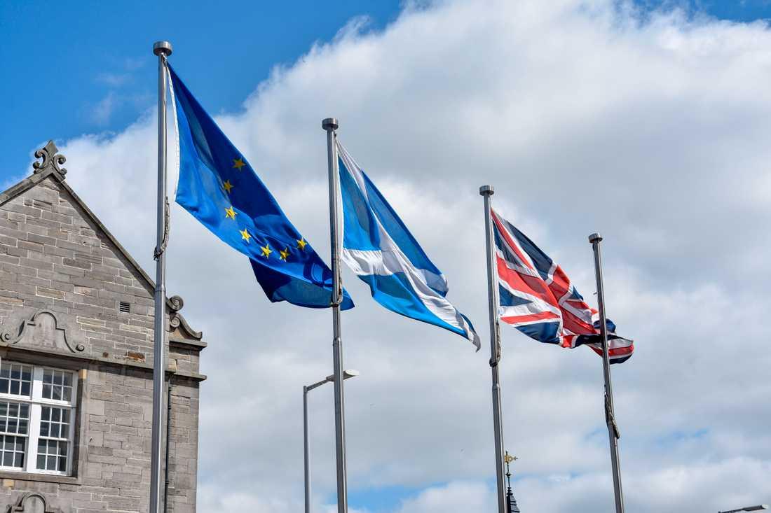 Trots EU-utträdet fladdrar EU-flaggan fortfarande bredvid Skottlands och Storbritanniens flaggor utanför det skotska parlamentet i Holyrood i Edinburgh. Den här bilden är dock från 2019. Arkivfoto.